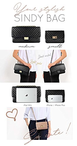 metal SINDY body leather and Black chain cross chevron quilted shoulder clutch quilted Italian smooth Gold soft purse Small Light leather w0rS04xFq
