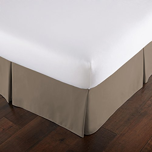 Southshore Fine Linens - VILANO Springs - 15 inch Drop Pleated Bed Skirt, Dark Taupe, King