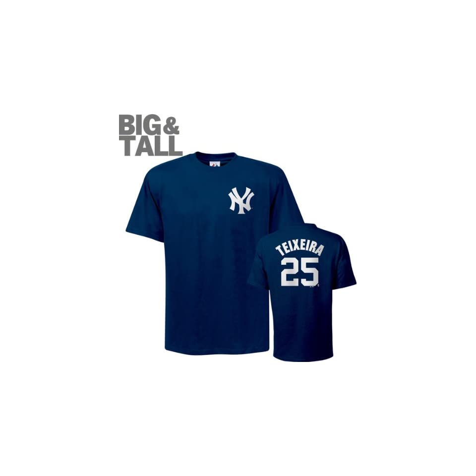 Mark Teixeira Big & Tall New York Yankees #25 Name and Number T Shirt  Sports Fan T Shirts  Sports & Outdoors