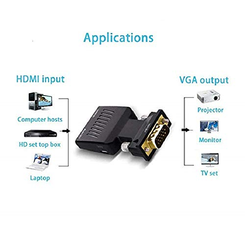 HDMI to Vga Converter,1080P HDMI to VGA Video Audio with Power Supply Converter Adapter for Xbox DVD HD TV