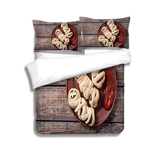 MTSJTliangwan Duvet Cover Set Mummy Sausages Scary Halloween Party Food Decoration Wrapped in Dough 3 Piece Bedding Set with Pillow Shams, Queen/Full, Dark Orange White Teal Coral]()