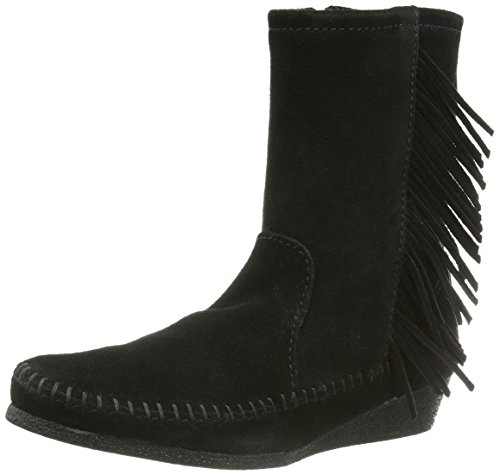 Minnetonka Side Fringe Wedge Boot - Mocasines Negro