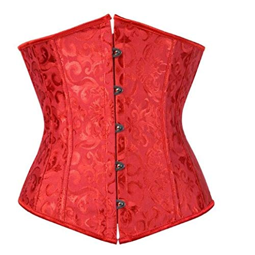 (Women's Steampunk Bustiers Corsets Brocade Cincher Satin Jacquard Floral Underbust Corsets Belt Red)