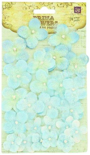 Prima 538453 Pearl Penache Fabric Flower Embellishments, Blue Moon