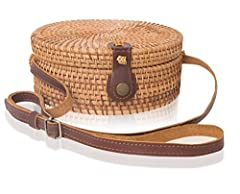 Beautifully Handcrafted Purse with Rattan Premium Leather This boho chic rattan crossbody bag is handcrafted by artisans with lightweight and eco-friendly rattan and premium genuine leather for a beautiful and strong handbag and purse. Leathe...