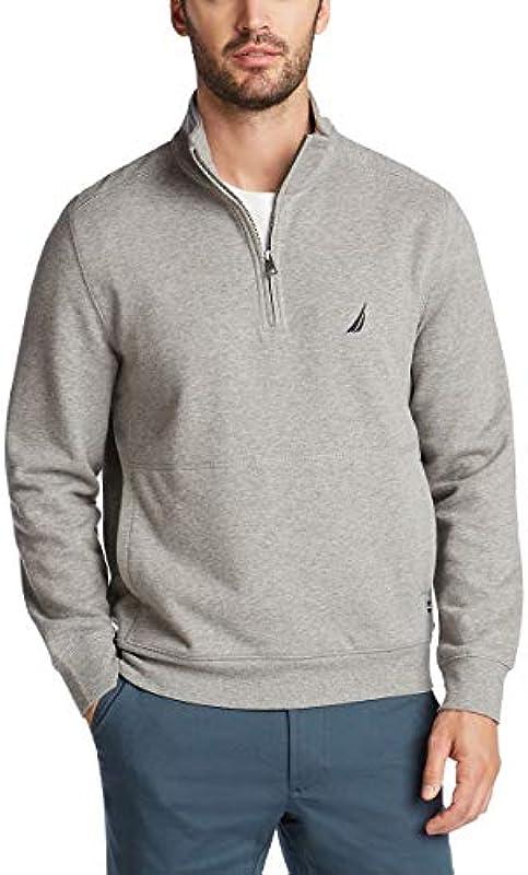 Nautica Męskie Classic Fit Quarter-Zip Fleece Pullover Hemd: Odzież
