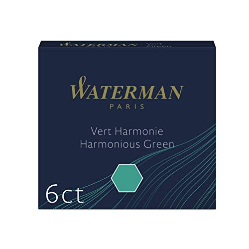 Waterman Mini International Cartridges for Fountain Pens, Harmonious Green, Box of 6 (S0110990) (Green Refill Bottled Ink)