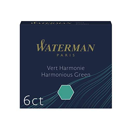 Waterman Mini International Cartridges for Fountain Pens, Harmonious Green, Box of 6 (S0110990)