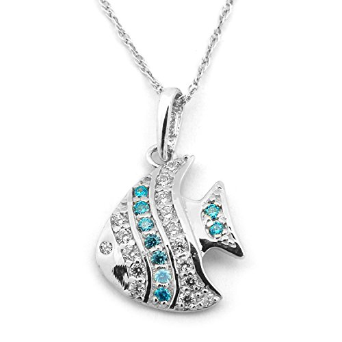 Angel Fish Necklace - Beauniq 14k White Gold Simulated Blue Topaz and Cubic Zirconia Angel Fish Pendant Necklace, 18