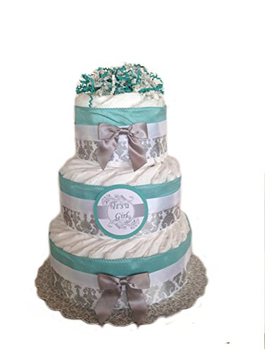 Classic Pastel Baby Shower Diaper Cake (3 Tier, Damask Teal) by Rubber Ducky