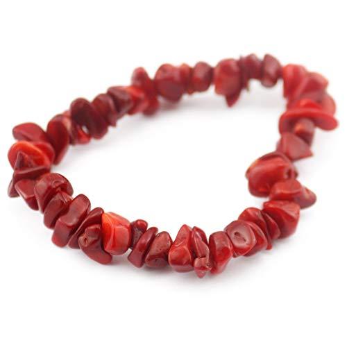 Bracelet Red Coral Chip (Natural Gemstone Bracelets Turquoise Agate Amethyst Chips Stone Bracelets (Red Coral))