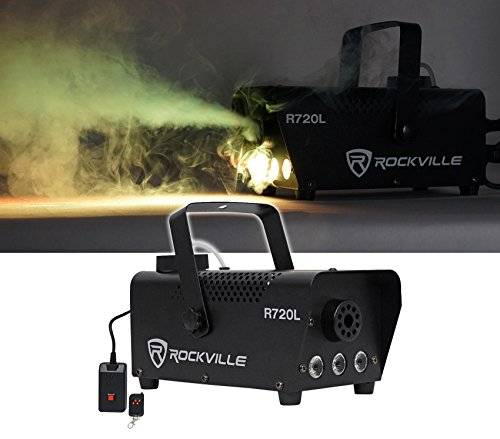 [Rockville R720L Fog/Smoke Machine w/ Remote+Multi Color LED Built In!] (Party Fog Machine)