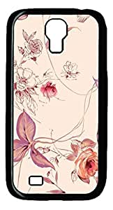 Galaxy S4 Case, Unique Design Protective Hard PC Black Pink Flowers01 Case Cover for Samsung Galaxy S4