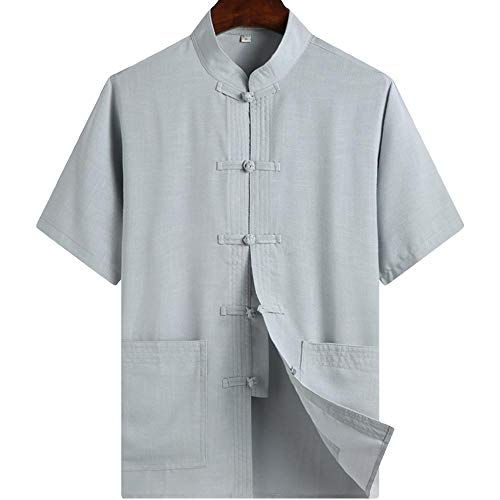 ZooBoo Chinese Clothing Tang Suit - Kung Fu Short Sleeve Shirt for Men (L, Gray) -