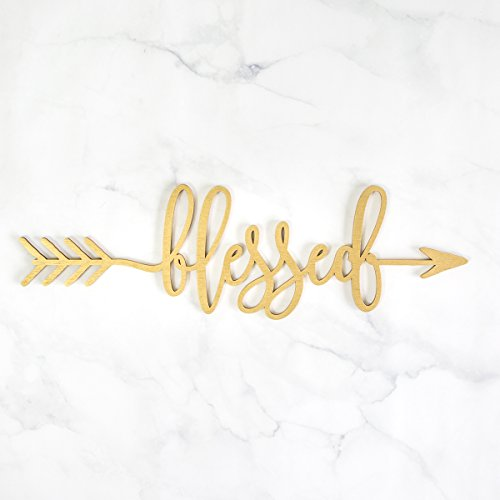 Woodums Blessed Arrow Wood Sign Blessed Décor Wall Art GOLD 18
