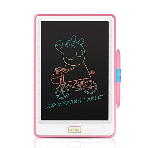Upgraded 10 Inch Writing Board Colorful Version with Lock Function Erasable Electronic Doodle and Scribble Board Drawing Memo Notes Taking Gifts for Kids & Adults Pink & White with 1 Lanyard