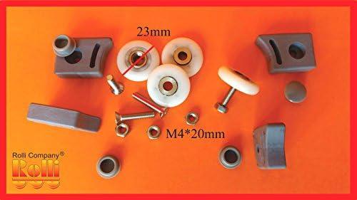 Juego de 4 ruedas de rueda para mampara de ducha Tipo B 23 mm ...