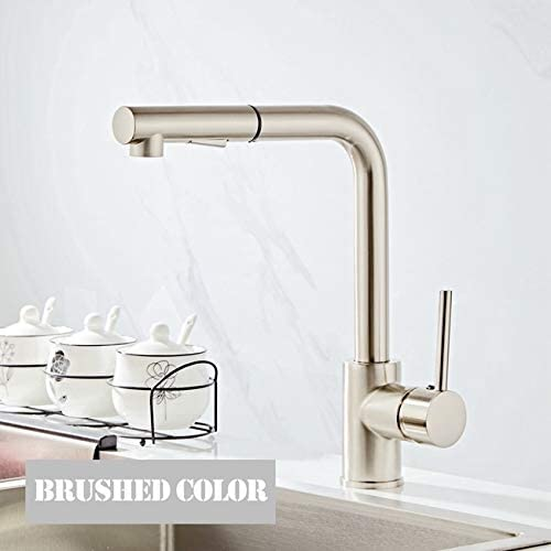 Single Hole Brass Rotating 360 Degrees Peerless Kitchen Faucet Kitchen Faucet Anti-corrosion Rust Sink Kitchen Faucet for Kitchen Farbe : Brushed color