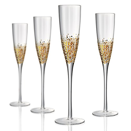 Gold Champagne Flute (Artland Ambrosia Flute 5 oz (Set of 4), Gold/Silver)