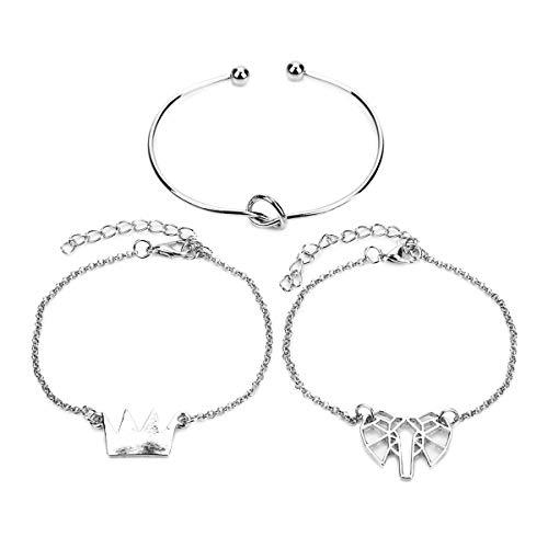 KSDJSA 3Pcs/Set Crown Hollow Elephant Charm Bracelets Set Bangle for Women Silver Open Circle Round Ankle Adjustable Bracelets Silver Length