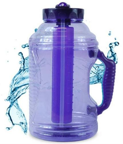 Cool Gear 75 oz EZ Freeze Water Bottle w/ Handle Straw and Ice Pack (Purple)