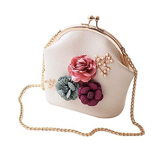 Bolso bandolera de piel sintética con diseño de flores, Beige, Talla unica