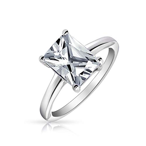 Simple 2.5CT Rectangle Brilliant Emerald Cut AAA CZ Solitaire Engagement Ring Thin Band 925 Sterling Silver For Women (Traditional Engagement Rings)