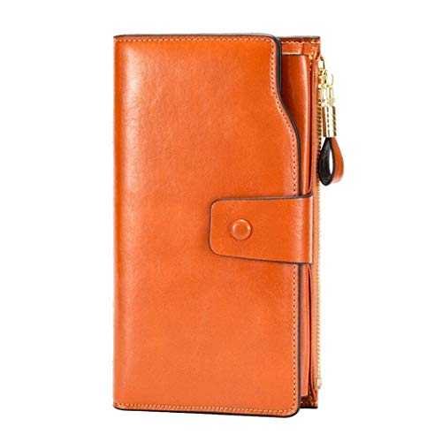 Women's Wallet, RFID Blocking Large Capacity Clutch Purse, Genuine Leather Card Holder, Brown - http://coolthings.us