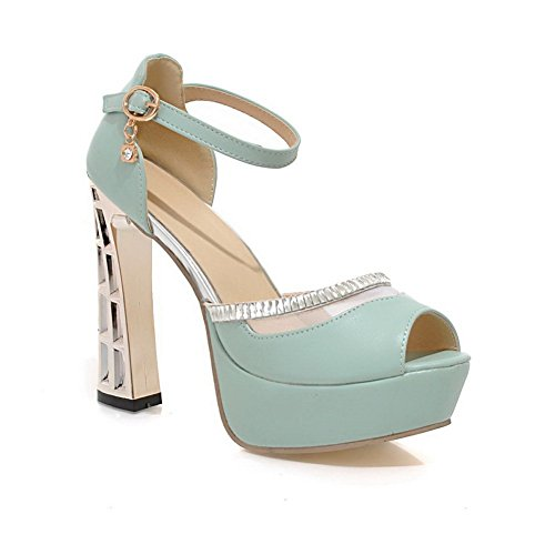 Soft Heels Material High Sandals Heel Blue Ladies 1TO9 Electroplate qwXHzgZ