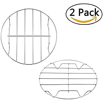 T&B Air Fryer Rack Cooking Steaming Cooling Multi-Purpose 304 Stainless Steel Round Rack Cross Wire w Stand Cookware Fit for Air Fryer Instant Pot Pressure Cooker Canning Set of 2(7&8 Inch)