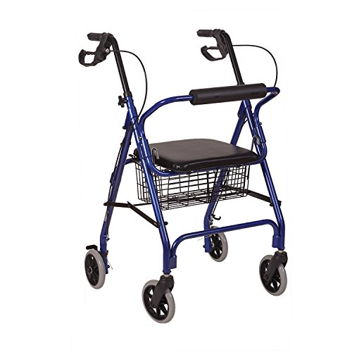 HealthSmart Rollator Walker, Adjustable Handle Height Folding Walker, Light Weight Aluminum Walker With Basket, Cushioned Seat and Padded Backrest, Royal Blue
