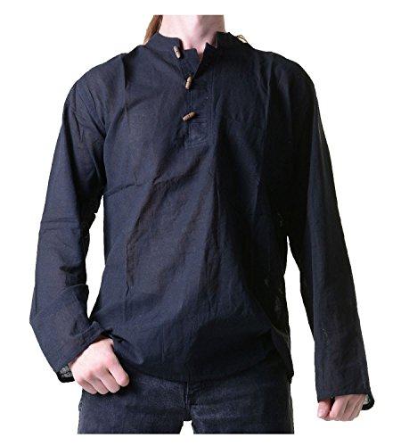 Fischerhemd Kurtha Uni Überzieher Hemd Poncho Mittelalter Nepal, Größe/Size:XL;Farbe:Black / Schwarz