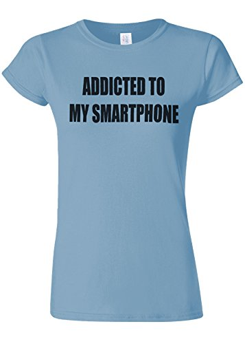 汚染する用心競争Addicted To My Smartphone Novelty Light Blue Women T Shirt Top-XL