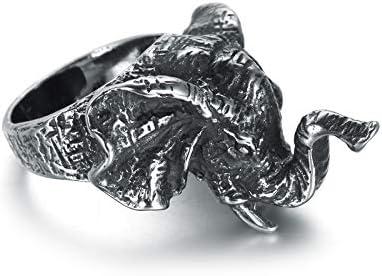 Beydodo Edelstahl Ring für Männer Gothic Elefant Partnerringe Silber Schwarz Herrenring Freundschaftsring