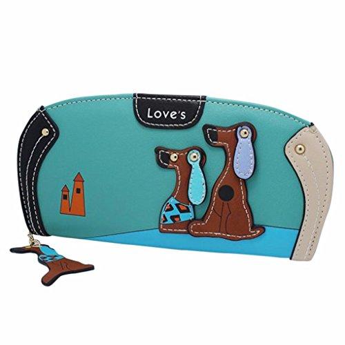 Women Bowknot Long Purse Button Wallet Clutch Hand Bag (Green) - 4