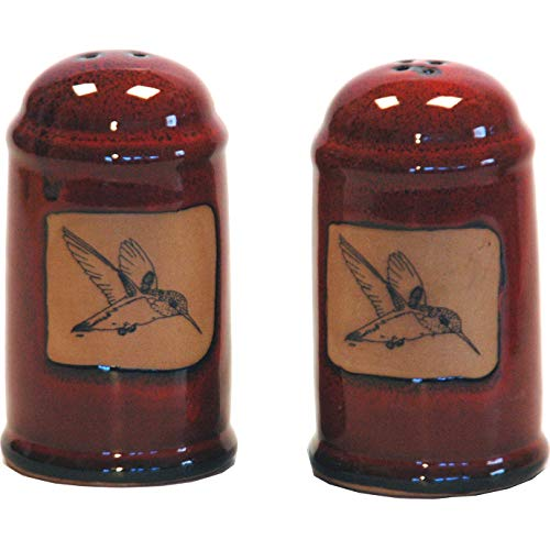 - 4 Inch tall Hummingbird Salt and Pepper Shakers in Real Red glaze