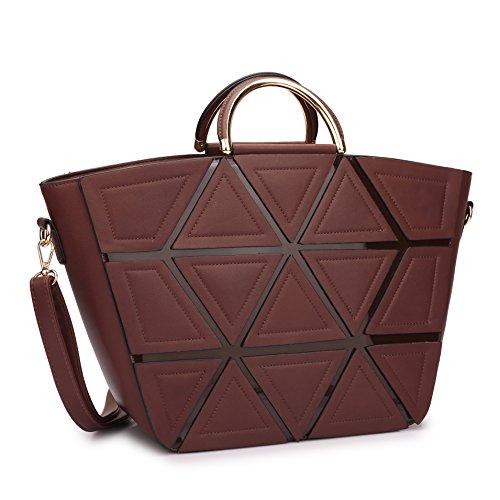 Women Designer Handbags Satchel Bags Top Handle Shoulder Bags Work Purses with Geometric Trim