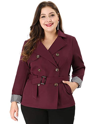 Agnes Orinda Women's Plus Size Lapel Blazer Double-Breasted Belted Trench Coat 2X Red ()