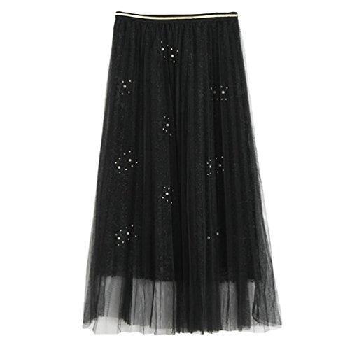 Robe Plage Bohme Pliss Noir Maxi Yiiquan Jupe Femme lgant Vintage Rtro Longue qnY10v