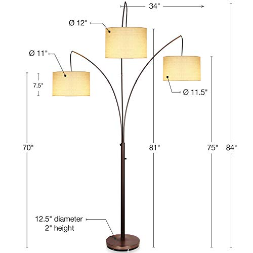 Brightech Trilage - Modern LED Arc Floor Lamp with Marble Base - Free Standing Behind The Couch Lamp for Living Room - 3 Hanging Lights, Great for Reading - Oil Rubbed Bronze by Brightech (Image #2)