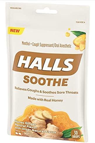 【2袋】ホールズ ハニー♡ジンジャー Halls Honey Ginger Flavor 30Drops, 海外直送品