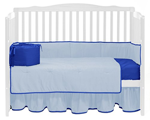 (Baby Doll Bedding Solid Reversible Crib Bedding Set, Light Blue/Royal Blue)