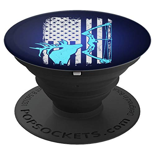 Elk Hunting for Bow Hunters - Vintage American Flag - PopSockets Grip and Stand for Phones and Tablets