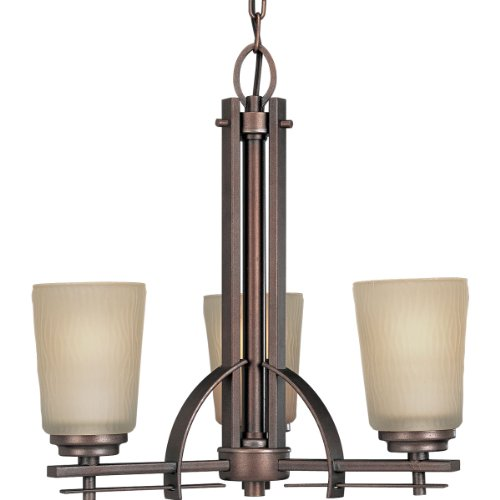 Progress Lighting P4212-88 3-Light Chandelier with Etched Light Topaz Glass, Heirloom