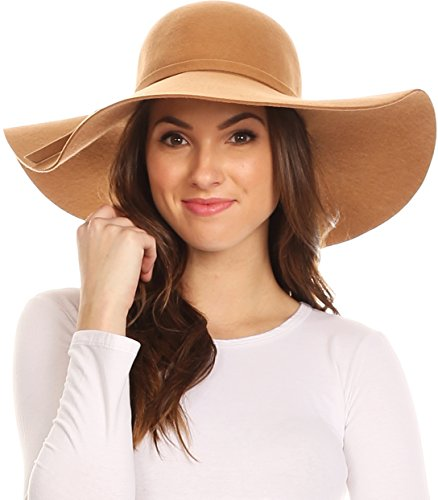 Sakkas EH01EH - Womens 100% Wool Wide Brim Foldable Floppy Hat - Beige/One Size - Felt Floppy Hat