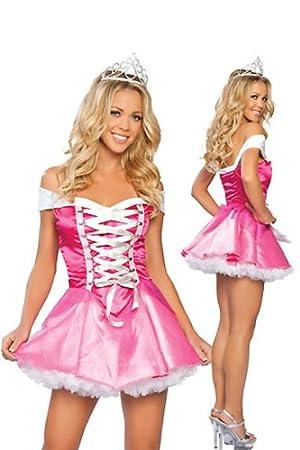 Sexy satén rosa quimiotaxis traje corto vestido puff Disney ...