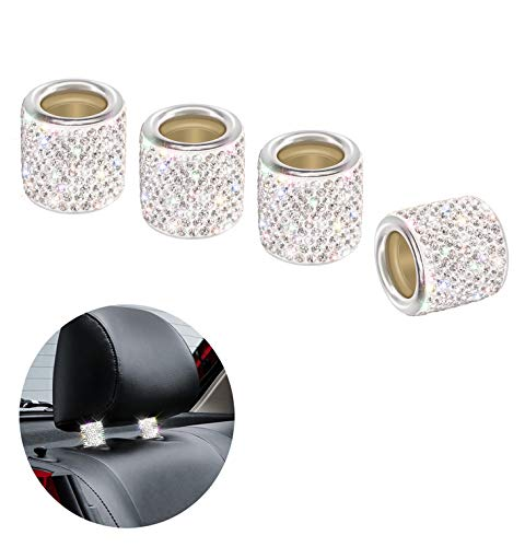 QBeel Car Headrest Collars, 4 Pack Handcrafted Rhinestone Car Decorations Interior Universal Bling Car Accessories for Women - Silver