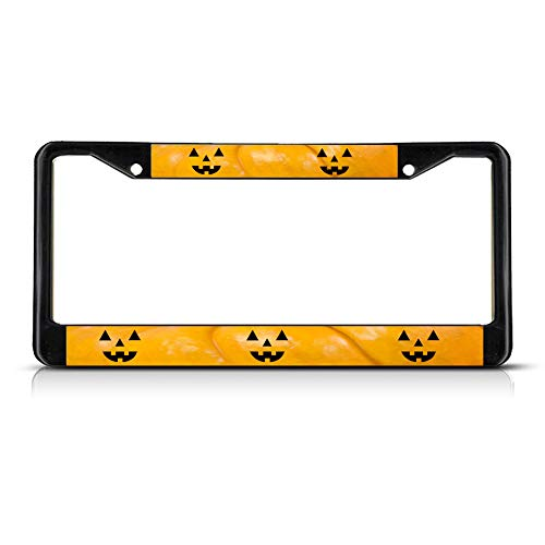 Halloween Pumpkin Faces Metal License Plate Frame Tag Border Two Holes Perfect for Men Women Car garadge Decor -