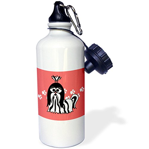 3dRose wb_6143_1 Black and White Shih Tzu with Paw Prints Sports Water Bottle, 21 oz, White (Tzu Prints Shih Paw)