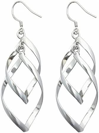 Silver Plated Linear Swirl French Wire Dangle Drop Earring
